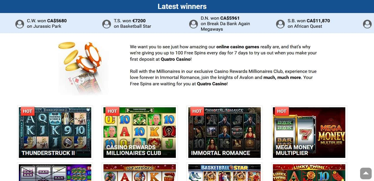 Quatro Casino Winners