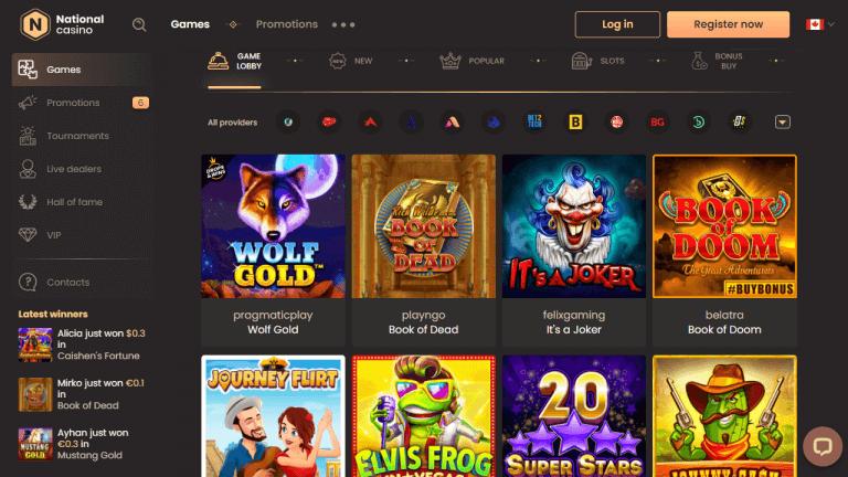 National Casino Online Games