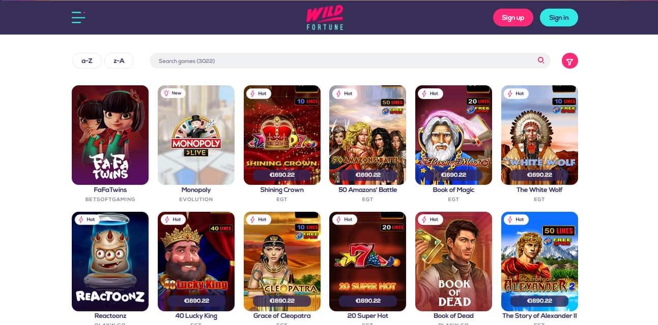 Wild Fortune Casino Games