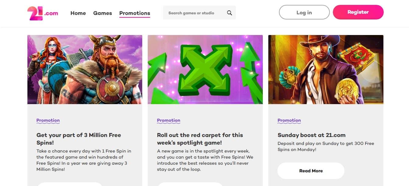21 com Casino Promotions