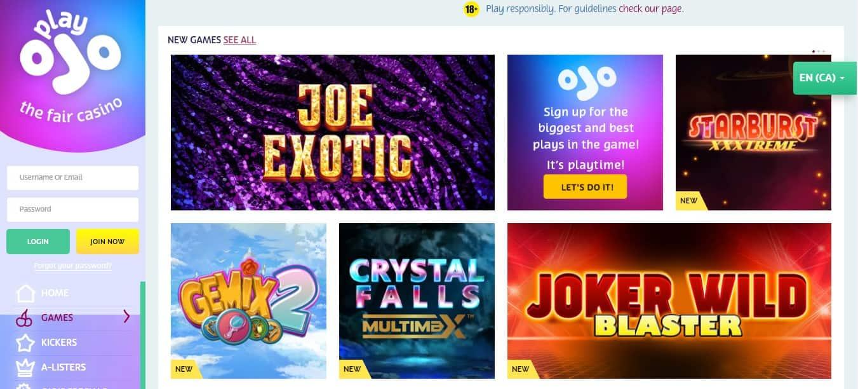 PlayOjo Casino Games