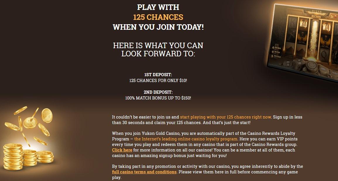 Yukon Gold Casino Welcome Bonus