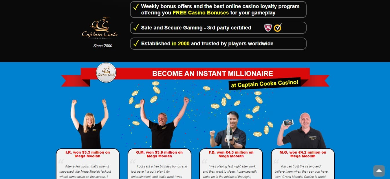 Captain Cooks Casino Win