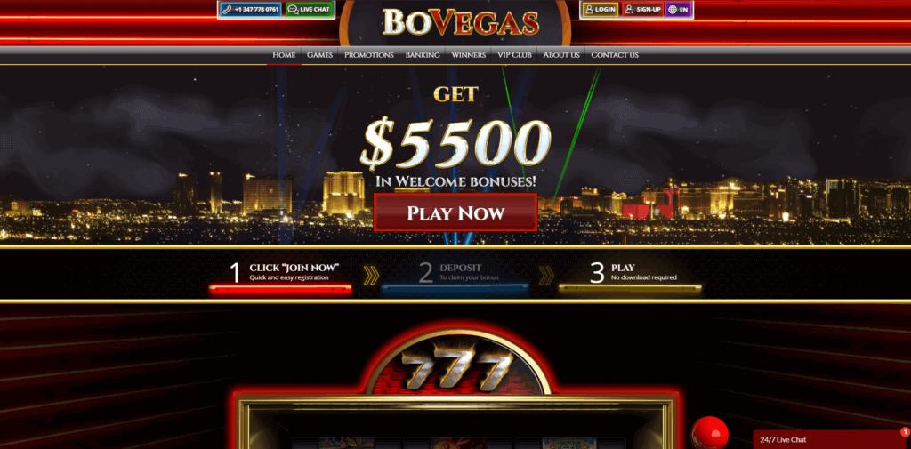 BoVegas Casino Home
